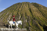 Photos Indonésie - Java - Gunung Bromo - On peut monter à cheval jusqu'au pied du cratère actif avant de finir par l'escalier